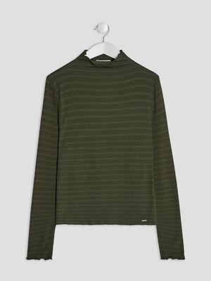 T shirt manches longues vert kaki fille