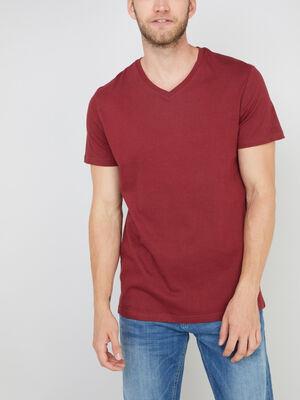 T shirt col V en coton bordeaux homme