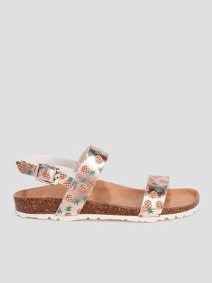 Sandales plates rose fille
