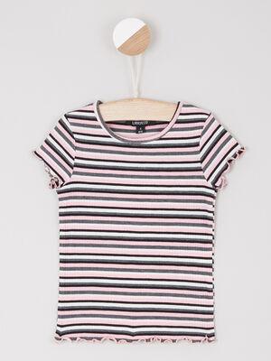 T shirt manches courtes a rayures noir fille