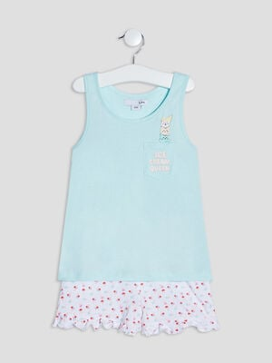 Ensemble pyjama 2 pieces vert fille