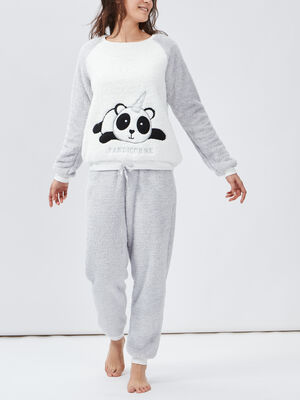 Ensemble pyjama gris clair femme
