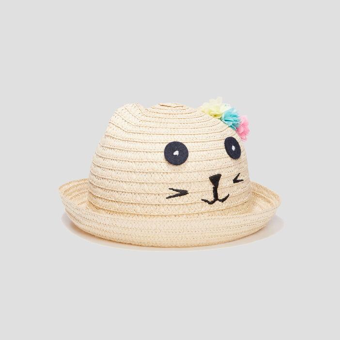 Chapeau tressé mixte beige
