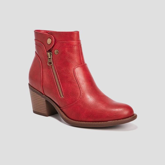 Bottines à talons zippées femme rouge