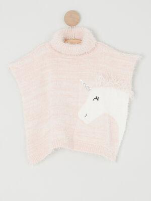 Poncho motif maille duveteuse rose clair mixte