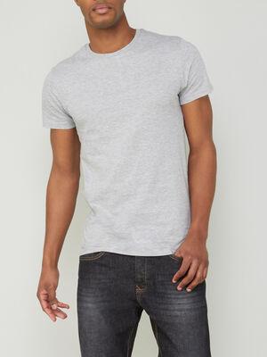 T shirt col rond uni gris homme