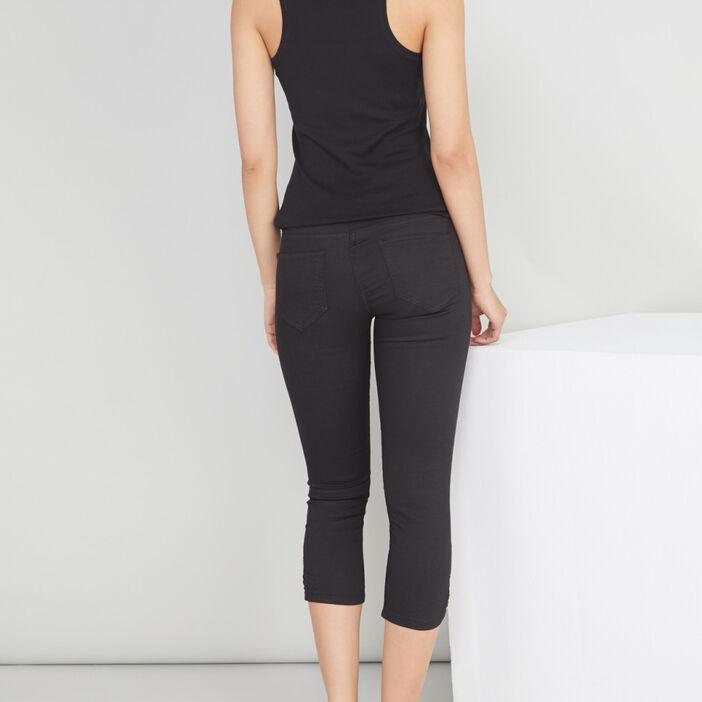 Pantacourt slim en jean femme noir