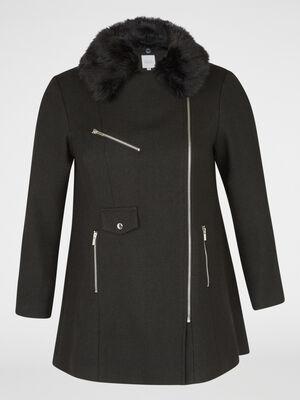 manteau fourrure synthetique noir femme