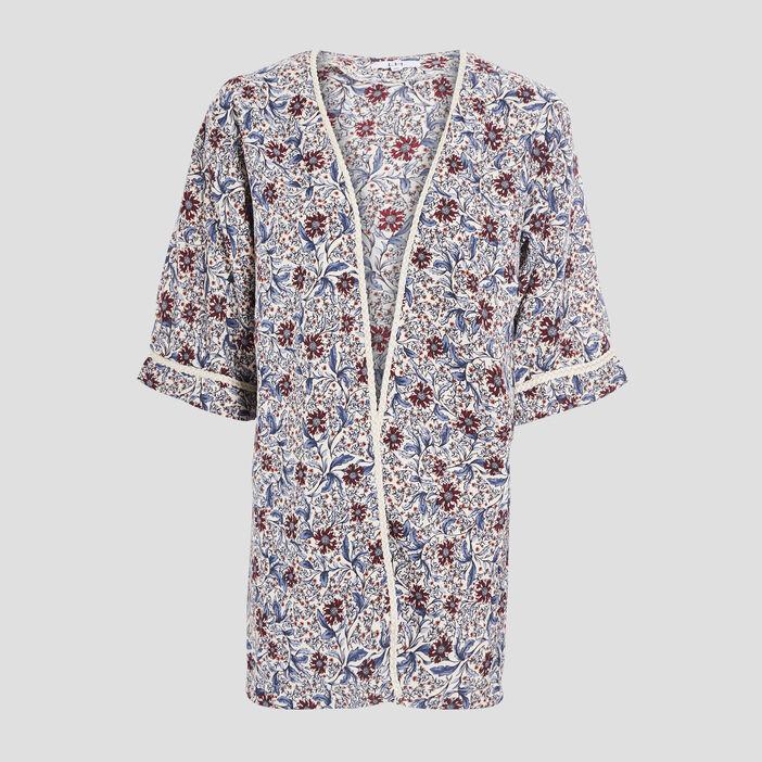 Veste droite esprit kimono femme bleu