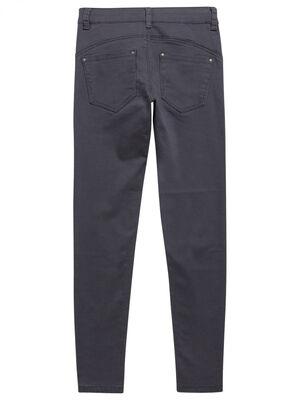 Pantalon skinny uni 5 poches gris fonc fille