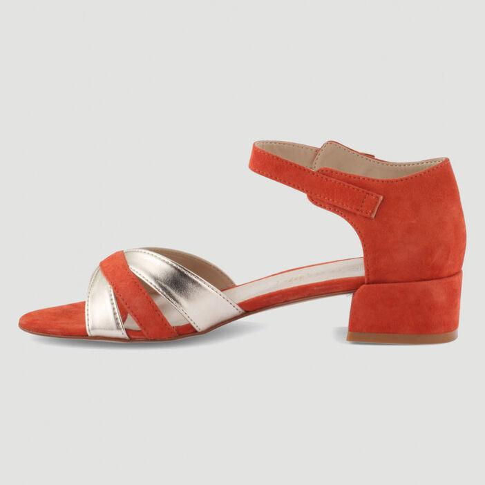 Sandales bicolores à talon carré femme rouge