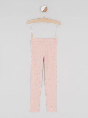 Legging avec bandes sequins reversibles rose clair fille