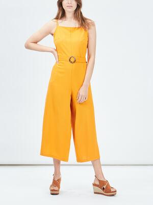 Combinaison pantalon ceinturee jaune moutarde femme