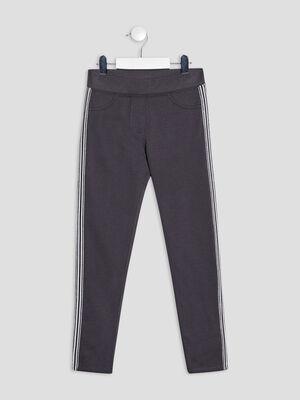 Pantalon jogging avec bandes gris fonce fille