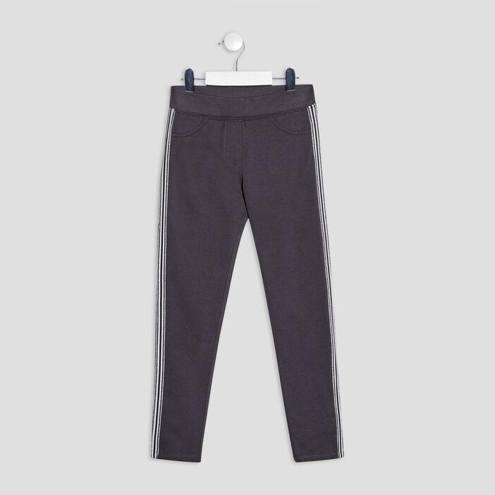 Pantalon jogging avec bandes fille gris fonce
