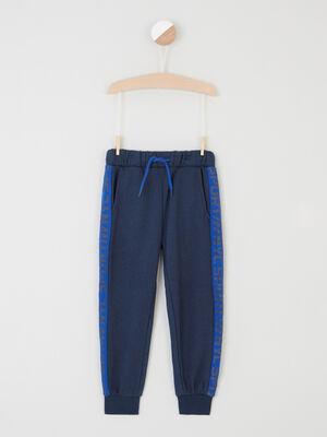 Pantalon coupe jogging bandes laterales bleu marine garcon