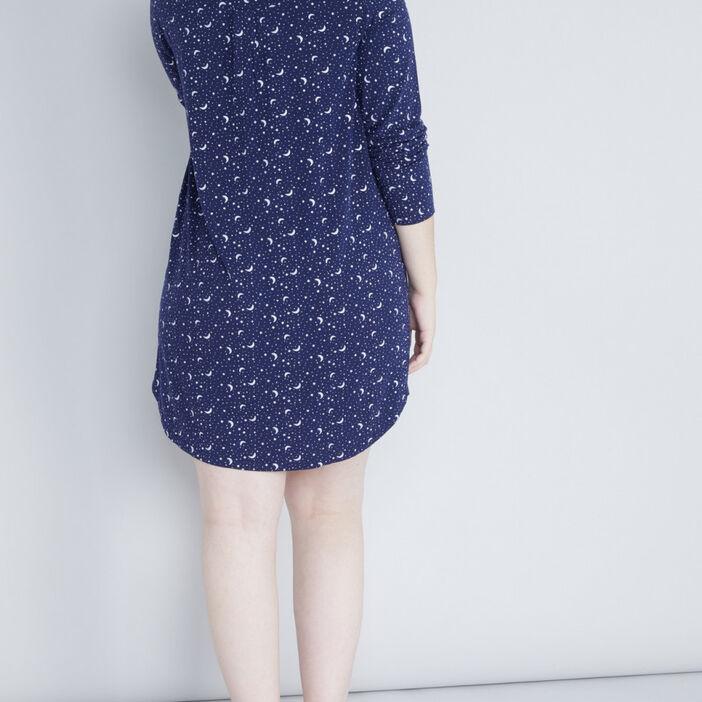 Chemise de nuit imprimé bicolore femme grande taille bleu marine