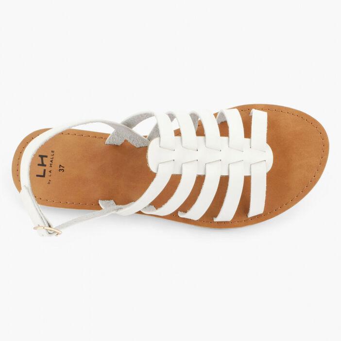 Sandales unies à boucle femme blanc