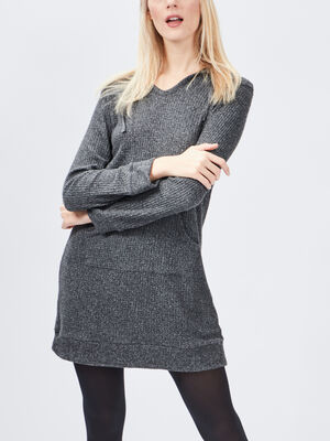 Robe pull a capuche gris fonce femme