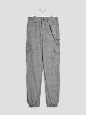 Pantalon battle avec chaine gris fille