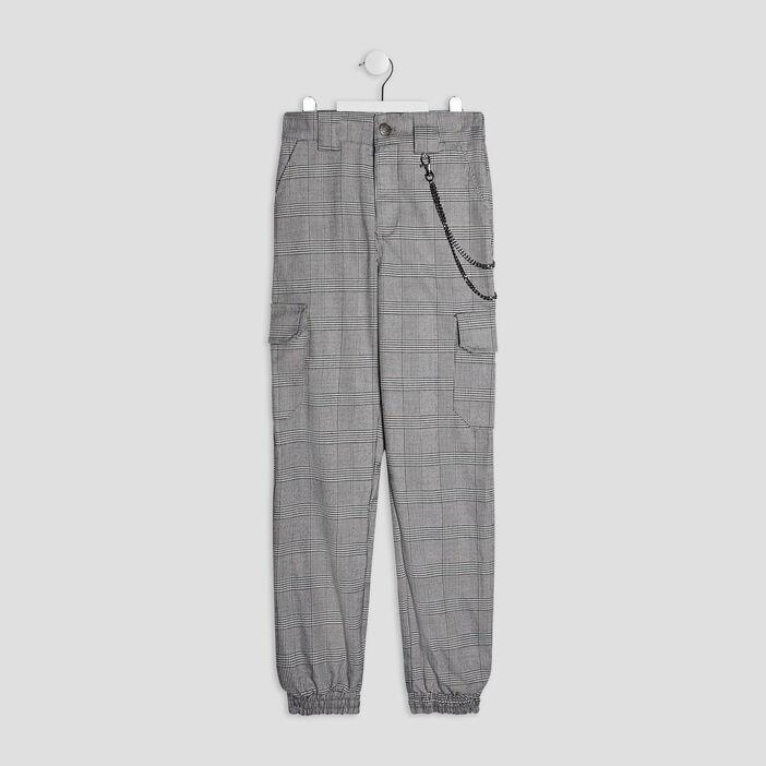 Pantalon battle avec chaîne fille gris