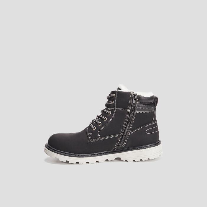 Boots fourrées zippées à lacets garçon noir
