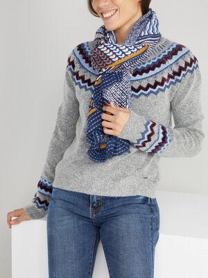 Foulard fin motifs geometriques multicolore mixte