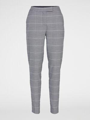 Pantalon cigarette Prince de Galles gris clair femme