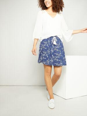 Jupe courte imprimee bleu marine femme