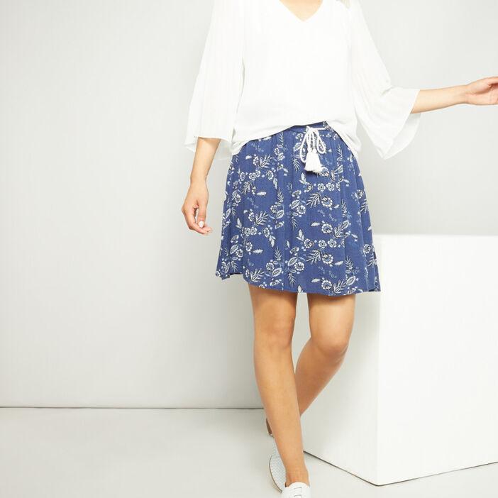 Jupe courte imprimée femme bleu marine