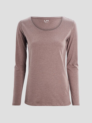T shirt manches longues taupe femme