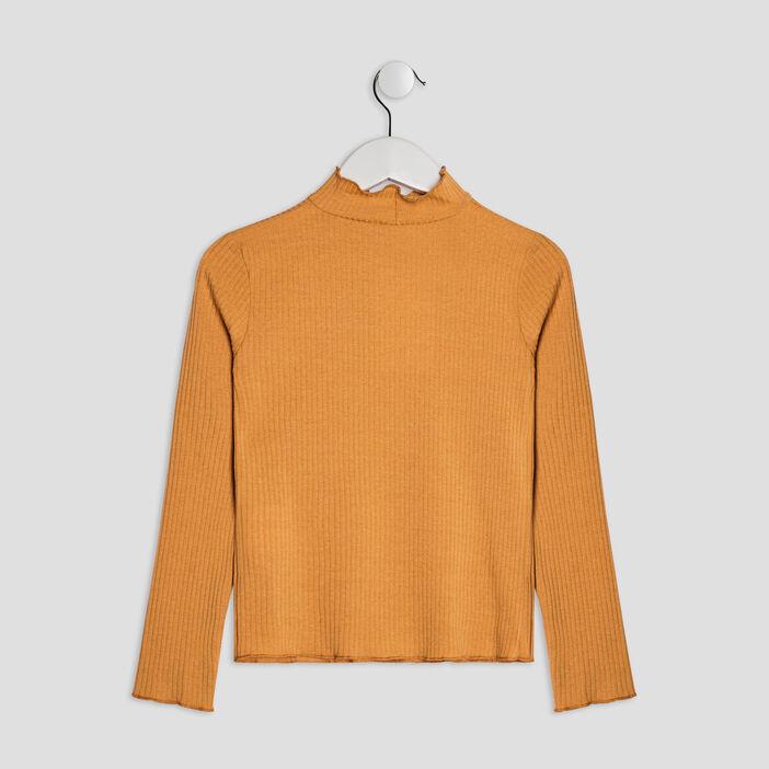 T-shirt manches longues côtelé fille jaune moutarde