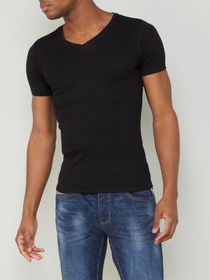 T shirt chine col V noir homme