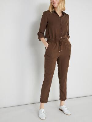 Combinaison pantalon cintree unie vert kaki femme