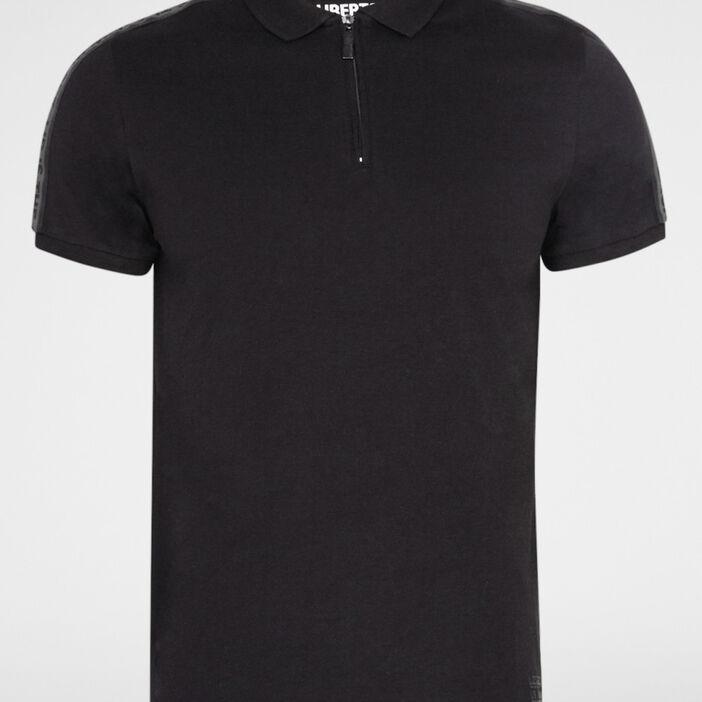 Polo coton uni col zippé homme noir