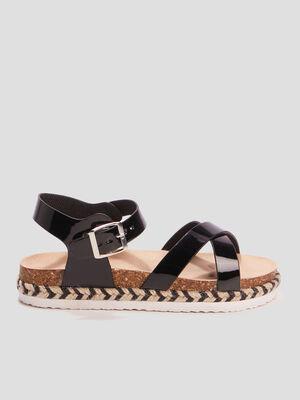 Sandales a details tresses noir fille