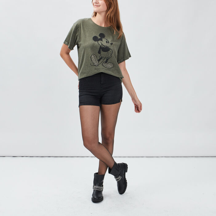 T-shirt manches courtes Mickey femme vert kaki