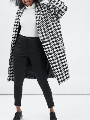 Manteau droit boutonne ecru femme