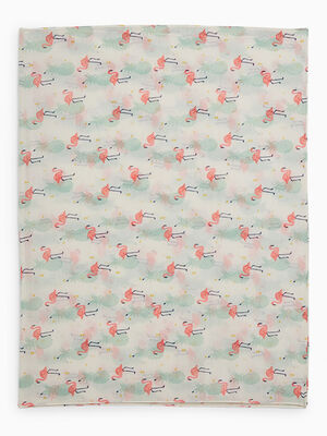 Foulard ananas flamants roses ecru fille