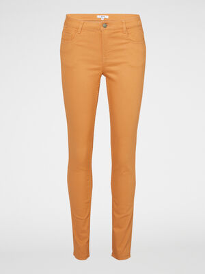 Pantalon skinny uni jaune moutarde femme