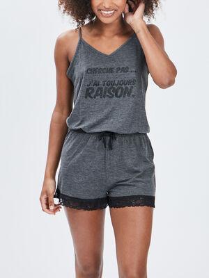 Combishort pyjama gris fonce femme