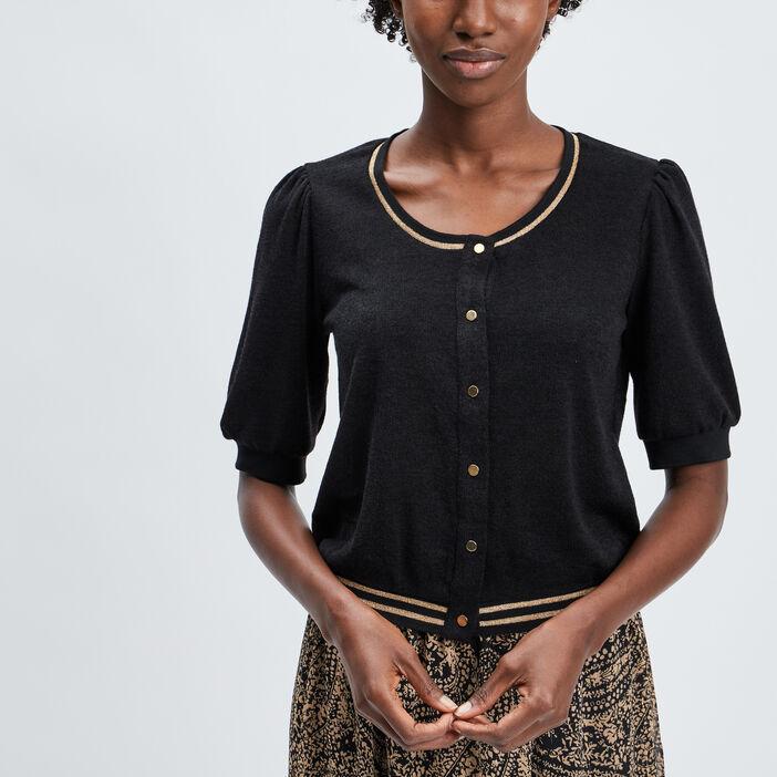 Gilet manches courtes boutonné femme multicolore