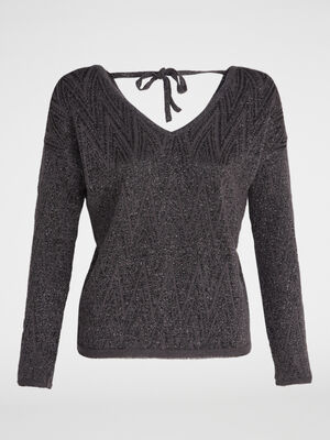 Pull maille fantaisie noeud dos gris fonce femme