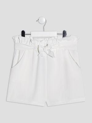 Short droit ceinture ecru fille
