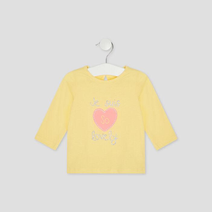 T-shirt manches longues bébé fille jaune