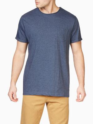 T shirt col rond uni bleu homme
