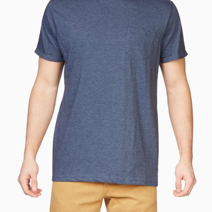 T-shirt col rond uni homme bleu