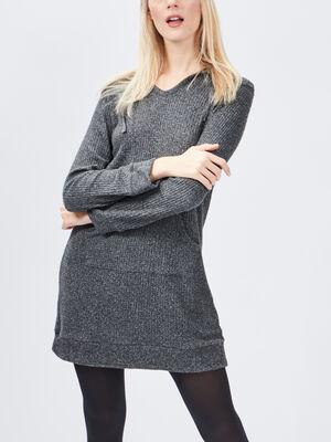 Chemise de nuit a capuche gris fonce femme