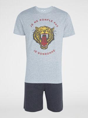 Pyjama avec imprime coton majoritaire gris homme