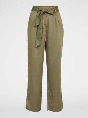 Pantalon large en tencel vert kaki femme
